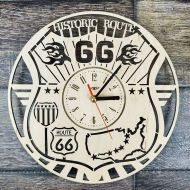 ShareArtST ROUTE 66 Wood Wall Clock, Route 66 Wall Art, Home Kitchen Office Living Room Wall Decor, Route 66 Gifts For Men Woman Friend, Route 66 Clock
