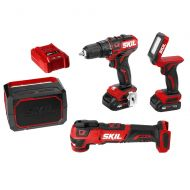 Skil SKIL 4-Tool Combo Kit: Pwrcore 12 Brushless 12V 1/2 Drill Driver, Oscillating Multitool, Area Light & Bluetooth Speaker, Includes Two 2.0Ah Lithium Batteries & Standard Charger - C