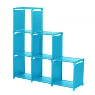 Sttech1-USA ware house Sttech1 Space-Saving Cube Storage Unit, 3-Tier Storage Cube Closet Organizer Shelf 6-Cube Cabinet Bookcase (Blue, Ship from USA)
