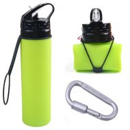 TENTA Kitchen BPA Free Foldable Silicone Collapsible Water Bottle With Aluminum Alloy Carabiner Climbing Screw Lock Hook For Travel,Camping,Sport - Heat Resistant from -40C to 100C