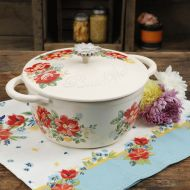 The Pioneer Woman Timeless Beauty Vintage Floral 3-Quart Enameled Cast Iron Casserole wLid
