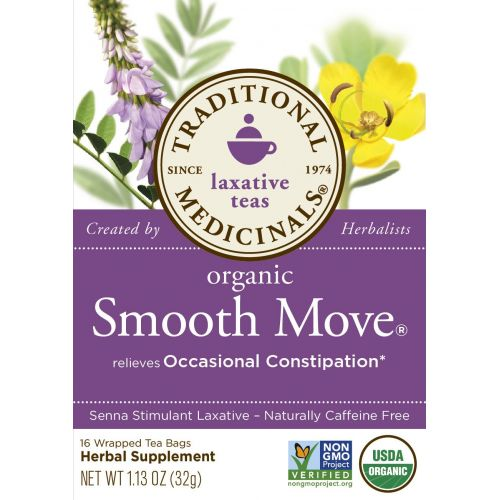 Traditional Medicinals Organic Smooth Move Laxative Tea, 16 Tea Bags (Pack of 1)