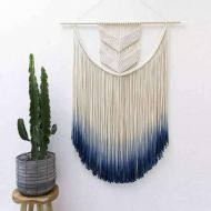 Tribal D&L Macrame Woven Wall Hanging, Nordic Boho Handmade Tassel Dyeing Tapestry Home Wall Art Decor-A W50xH80cm