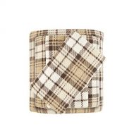 True North by Sleep Philosophy Cozy Brushed Microfleece Ultra Soft Cold Weather Sheet Set Bedding, Twin, Tan Plaid