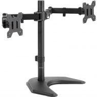 VIVO Dual LED LCD Monitor Free Standing Desk Mount with Optional Bolt-through Grommet/Stand Heavy Duty Fully Adjustable fits Two Screens up to 27 (STAND-V002F)