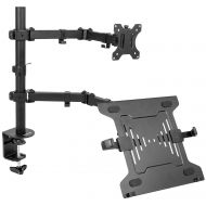 VIVO Full Motion Monitor + Laptop Desk Mount Articulating Double Center Arm Joint VESA Stand | Fits 13 to 32 Screen (STAND-V102C)