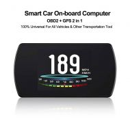 VJOYCAR T812 HD 4.3 Car Universal HUD Head Up Display, OBD2 GPS Dual System, Vehicle Speed MPH KM/H, Engine RPM, Overspeed Warning, Mileage Odometer, Coolant, Voltage