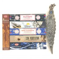 Vrinda Holiday Gift set of 6 Palo Santo White Sage Nag champa Zen Meditation Mystical Nights Mantra( Incense Holder Included)