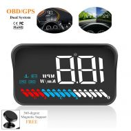 WL Car Universal Dual System HUD Head Up Display OBD II/GPS Interface,Vehicle Speed MPH KM/h,Engine RPM,OverSpeed Warning,Mileage Measurement,Water Temperature,Voltage