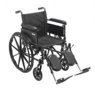 Walgreens Drive Medical Cruiser X4 Dual Axle Wheelchair with Adjustable Full Arms, Elevating Leg Rests 18 inch Seat Silver Vein