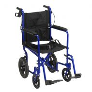 Walgreens Drive Medical Lightweight Expedition Transport Wheelchair with Hand Brakes Blue