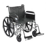 Walgreens Drive Medical Sentra EC Heavy Duty Wheelchair with Detachable Full Arms and SwingAway Footrest 22 Inch Seat Black