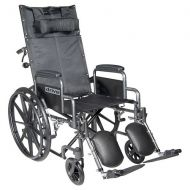 Walgreens Drive Medical Silver Sport Reclining Wheelchair with Detachable Desk Arms and Leg rest 20 Inch Seat Silver Vein