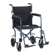 Walgreens Drive Medical Flyweight Lightweight Transport Wheelchair Blue FrameBlack Upholstery