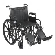 Walgreens Drive Medical Wheelchair 20-inch Silver Sport 2 with Detachable Desk Arms and Swing-Away Eleva 20 Seat Black