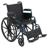 Walgreens Drive Medical Blue Streak Wheelchair with Flip Back Desk Arms and Swing Away Footrest 16 Seat Blue