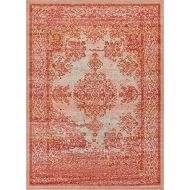 Well Woven Firenze Cannes Modern Vintage Ethnic Medallion Distressed Pink Accent Rug 2 x 3 Doormat