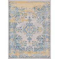 Well Woven Firenze Cannes Modern Vintage Ethnic Medallion Distressed Ivory Area Rug 53 x 73
