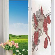 YOLIYANA Frosted Glass Window Film No Glue Privacy Window Cling 3D Humor Decor Glass Stickers for Bathroom 24 by 78