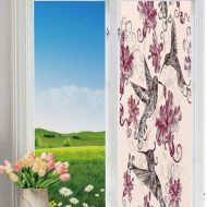YOLIYANA Modern Glass Window Film No Glue Privacy Window Cling 3D Hummingbirds Decorations Glass Stickers for Bathroom 24 by 78