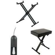Yamaha YKA7500 Professional Double X Style Keyboard Stand with Sustain Pedal and Bench