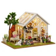 Yamix DIY Wooden Dollhouse Kit Miniature Toy House Creative Sunlight Greenhouse Romantic Gift for Women and Girls