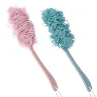 Yisella Bath Brush Loofah Back Scrubber For Shower - Long Handle Bath Body Brush Sponge 2 Pieces