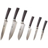 ZHEN Japanese VG-10 6-Piece Damascus Cutlery Knife Set, Pakka Wood