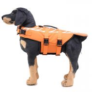 Zunea Dog Life Jacket Adjustable Waterproof Swimming Rescue Vest Pet Floatation Lifesaver with Handle Funny Shrimp Life Preserver Swimsuit for Small Medium Large Dogs Orange